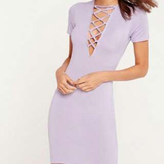 Missguided Short Sleeve Lilac Lace Up Front Bodycon Dress