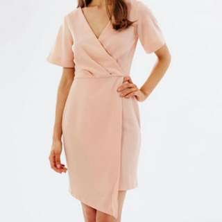 PENDING Peach Cross Over Short Sleeve Dress