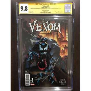 CGC SS 9.8 Venom #1 Variant Cover Signed by Todd Mcfarlane, Mark Bagley & David Michelinie Brand New