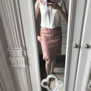Lace Skirt Nude Pink