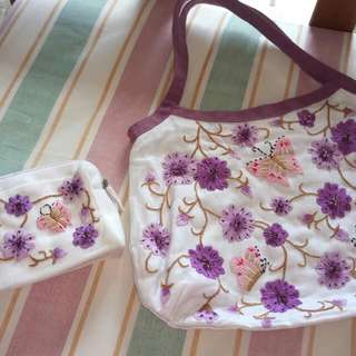 Embroidered Bag With Pouch