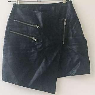 Tobi Black Mini Zip Leather Skirt AU 6