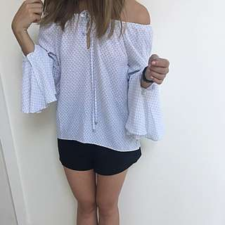 Sportsgirl White And Grey Grid Off Shoulder Top AU 6