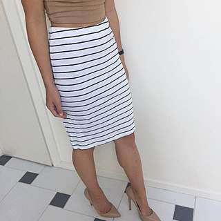 Noisy May Striped Midi Skirt XS