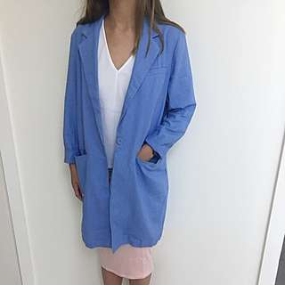 ASOS Blue Duster Coat Single Button AU 6