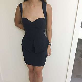 Maxim Navy Peplum Dress AU M