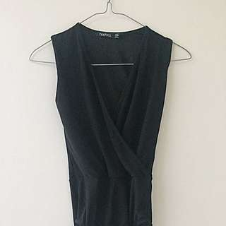 Boohoo Black Wrap Bodysuit AU 6
