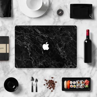 Abstract Black x Granite Marble Macbook Vinyl Decal