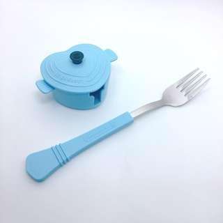 7-11 法國餐具Le creuset 愛心鍋海岸藍叉子