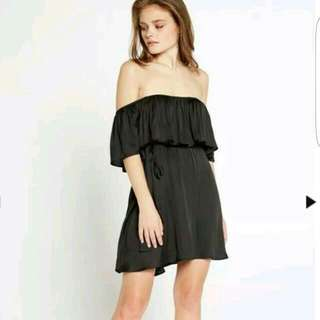 Bardot Cassie Off Shoulder Black Silk Satin Frill Dress BNWT Sz 8!