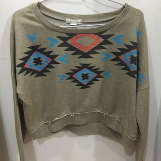 Forever 21 Cropped Tribal Sweater