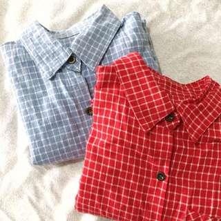 紅/水藍 格子襯衫