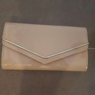 Colette Patent Leather Nude Clutch Vintage Design