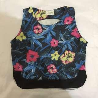 Blue Flowery Crop Top