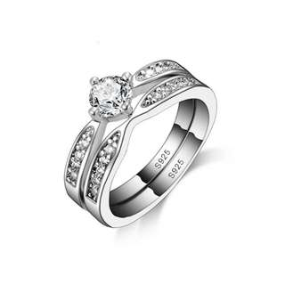 Sterling Silver Double Diamond Ring Set