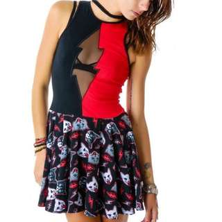 TOO FAST rat baby punk rock rockabilly goth red black skater dress CATS! 8 10 12