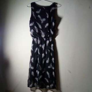 Feather Dress In Black