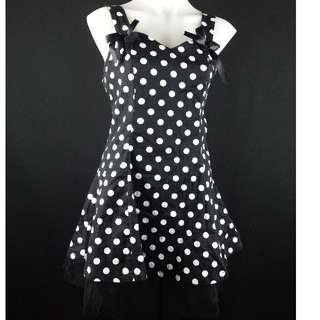 Banned Black Mini Polka Dot vintage rockabilly dress 12 14