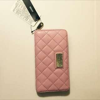 全新DKNY粉紅真皮皮夾