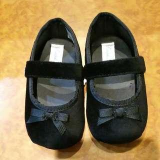 Ralph Lauren Black Velvet Jayde Strap Baby Shoes