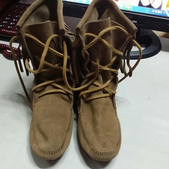 個性流蘇麂皮短靴 尺寸: 24.5