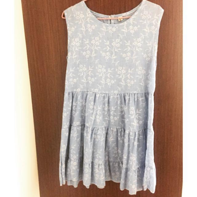 淺藍棉麻蛋糕裙