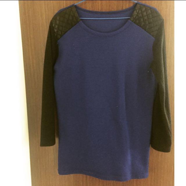 寶藍色針織拼接皮革洋裝