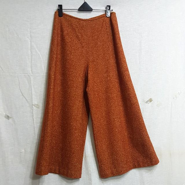 【超狂小阿姨】鮮豔駝色羊毛寬管褲 #運費我來出