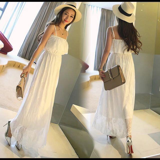 白色夢幻長款洋裝