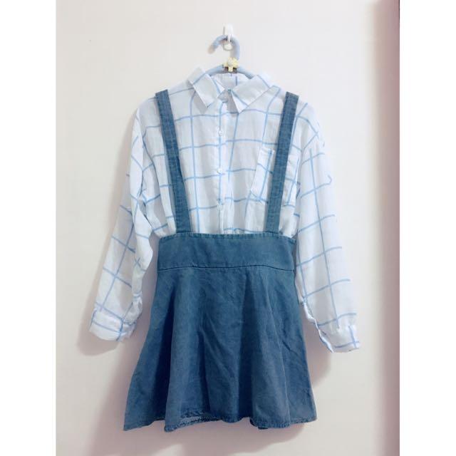 藍色格子襯衫+牛仔吊帶裙