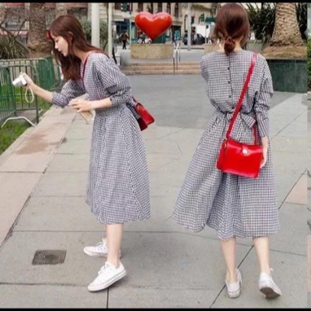 甜美女孩 格子洋裝