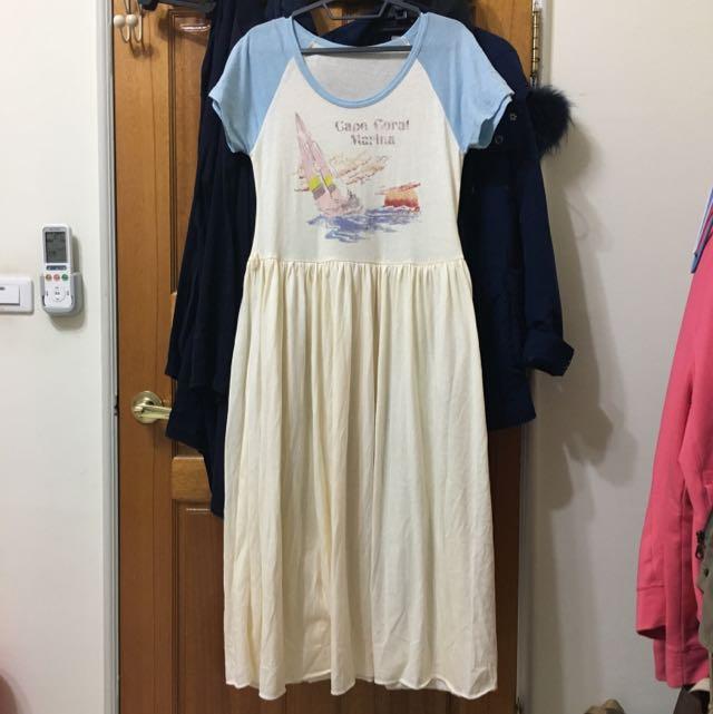 日本 美式鄉村 復古著棉質超長版洋裝