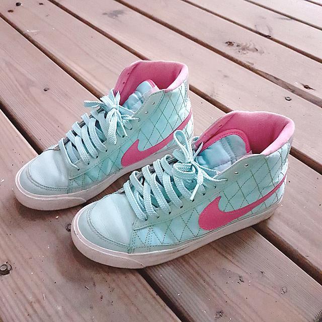 [二手] Nike WMNS Blazer MID '09 ND 馬卡龍球鞋淺藍 粉紅勾 金線緞面菱格紋 25cm