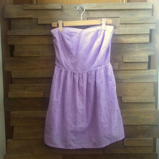 😍 Terranova Lavender Sweetheart Summer Eyelet Dress