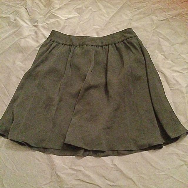 Above Knee High Waisted Black Skirt