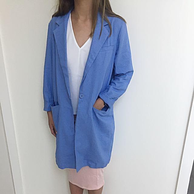 ASOS Blue Duster Coat Single Button AU 6