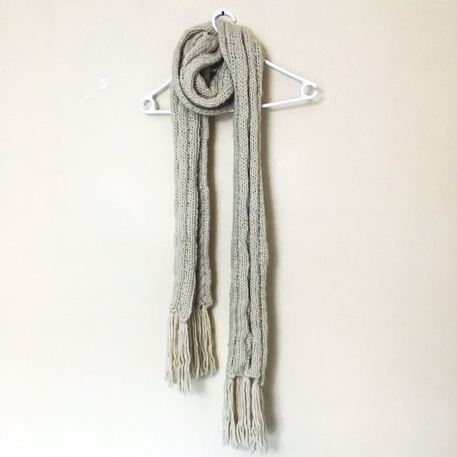 ASOS Cable Scarf With Tassels Cream