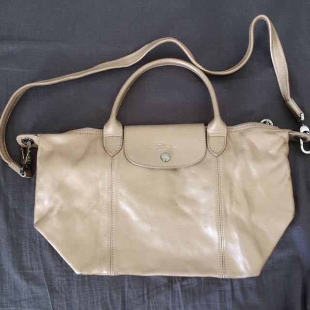 e1fcdd5b7afc Authentic Longchamp champagne leather bag
