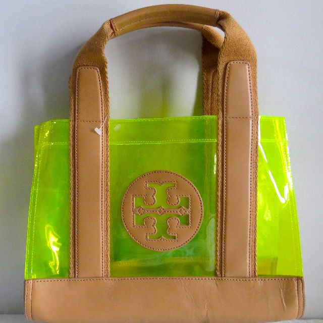 3e2720224807 Authentic Tory Burch Yellow Green see-through tote bag
