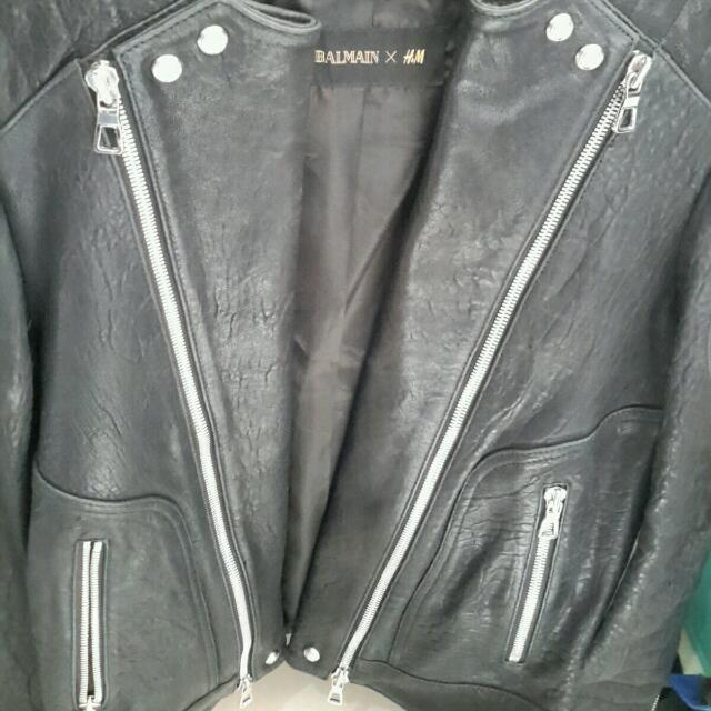 Balmain x H&M men's Leather biker jacket - brand new