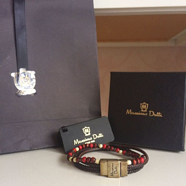 54edb5ee44aa9 BNIB Massimo Dutti Leather Bead Men Bracelet (L), Luxury ...