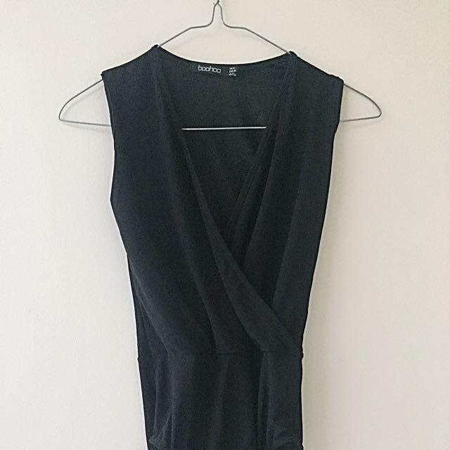 Boohoo Black Wrap Bodysuit AU 6