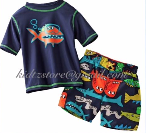 Boys Carters Fish Swim/ Rash Guard & Shorts (12m)