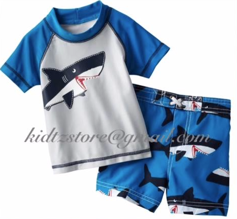 Boys Carters Shark Swim/ Rash Guard & Shorts (2T)