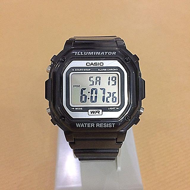 Casio F108 Vintage Illuminator Unisex Watch - Black