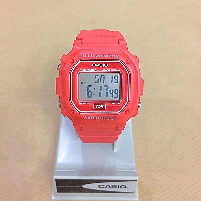 Casio F108 Vintage Illuminator Unisex Watch - Red Orange