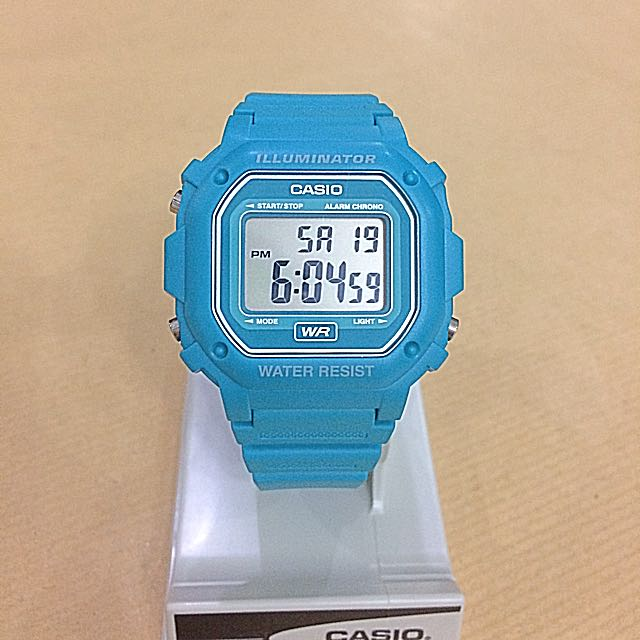 Casio F108 Vintage Illuminator Unisex Watch - Aqua/Blue Green