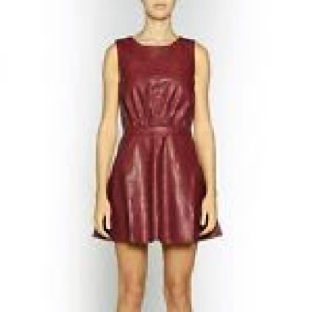 Negotiable: C&M Faux Leather Dress, Size 8 in Burgundy