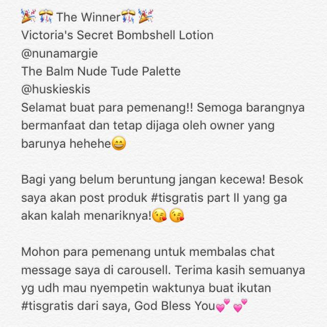 CONGRATULATION FOR THE WINNERS
