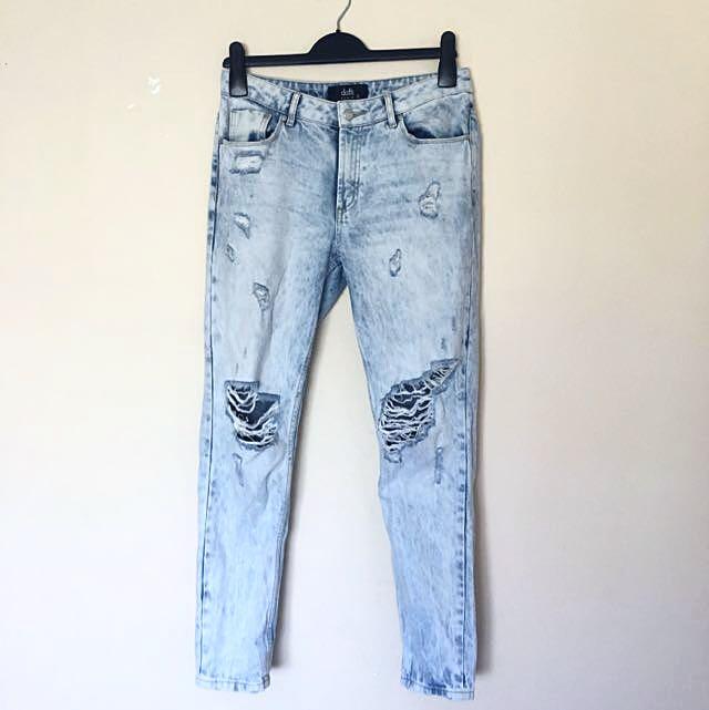 AU 8 | Dotti Acid Wash Ripped Jeans Relaxed/Boyfriend